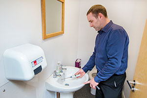 Man testing for legionella