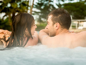 Couple in Hot Tubs