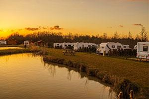 caravan park at sunset