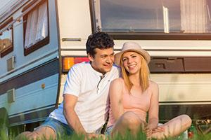 Couple by a caravan in Rhuddlan