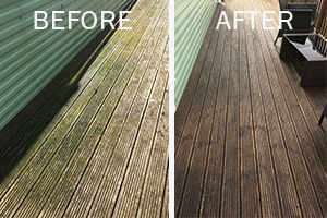 Enclean - before and after decking cleaning shots